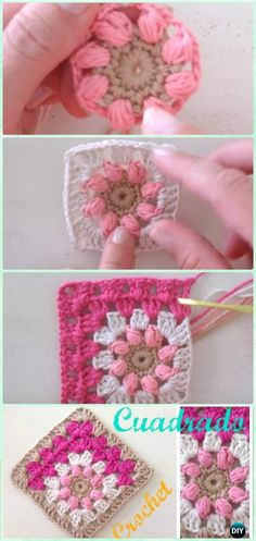 "Crochet Mitered Puff Square Free Pattern- Mitered Granny Square Blanket Free Patterns ""Free flower granny square pattern - this would be great for Granny Square Crochet Pattern, Crochet Blocks, Crochet Stitches Patterns, Crochet Squares, Crochet Motif, Crochet Crafts, Crochet Yarn, Crochet Projects, Granny Squares"