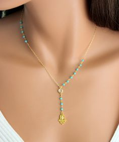 Hamsa+Necklace+Unique+Y+Style+Gold+Filled+by+divinitycollection