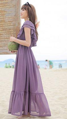 Fabulous Summer Purple Chiffon Maxi Dress. Ruffles Bridesmaids Dress