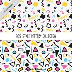 カラフルな80年代のパターン 無料ベクター