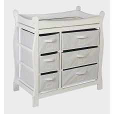 Badger Basket White Sleigh Style Changing Table With 6 Baskets   02410