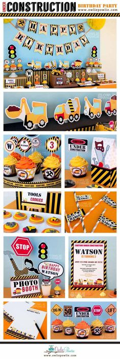Construction birthday party decorations, EDITABLE Party Printable Package & Invitation, dump truck construction builder from Owlie Powlie Third Birthday, Birthday Diy, 3rd Birthday Parties, Birthday Party Decorations, Birthday Ideas, Birthday Design, Birthday Themes For Boys, Birthday Banners, Farm Birthday
