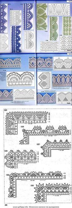 Many Free crochet edging diagram, chart patterns. #CrochetEdging