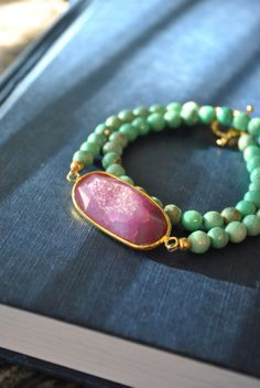"www.teresajewelry.etsy.com    MINT AND PINK  chrysoprase and pink druzy agate by TERESAJEWELRY, $95.00    use code ""PINFAN"" to get 20% off!!!"