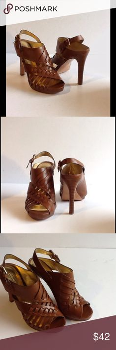 """Coach Leather Heeled Sandals EUC Coach medium brown leather 4.5"""" heel, 3/4"""" platform, worn once, no wear on outer sole, no imprints on inner sole. Storage mark on toe edge right shoe inner sole. Coach Shoes Heels"""