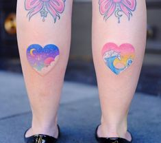 Twin Pastel Heart 💖✨🌊 Thanks Blaze ! Pretty Tattoos, Love Tattoos, Unique Tattoos, Beautiful Tattoos, Body Art Tattoos, Small Tattoos, Tatoos, Kawaii Tattoo, Sister Tattoos