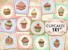 Cupcakes Printable 1 inch squares (453) Instant download  Sweet Muffins Digital Collage Sheet  Pendants Magnets #karisagraphic #etsy #digital #collage #sheet #cupcakes #pastel #printable #craft #diy #handmade #supplies