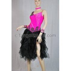 Posie Pink Black Ruffle Latin Cha Cha Dance Dress - M