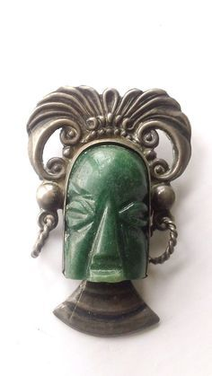Sterling Silver Carved Face Brooch / Mexican Taxco