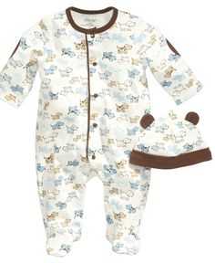 This adorable duo from Little Me features a cute doggy design throughout. | Cotton | Machine washable | Imported | Little Me baby boys two-piece set | Coverall: allover dog print; snaps at front and i