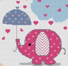 Cross stitch pattern of cute pink elephant. Patrón punto de cruz elefante rosado.