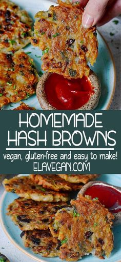 Crispy homemade vegan hash browns with only a few ingredients! These potato pancakes are also known as Latkes or Rösti (Rosti) in other countries. Hash browns are a popular American breakfast dish… Hash Browns, Vegan Breakfast Recipes, Breakfast Dishes, Best Vegan Breakfast, Vegan Gluten Free Breakfast, Vegan Foods, Vegan Dishes, Vegan Meals, Whole Food Recipes