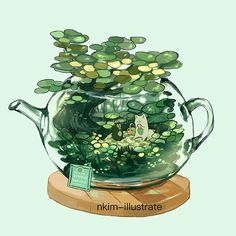 With your head in the sky - nkim-doodles: More Terrarium Teapots! Arte Do Kawaii, Kawaii Art, Kawaii Drawings, Cute Drawings, Animes Wallpapers, Cute Wallpapers, Pretty Art, Cute Art, Aesthetic Art