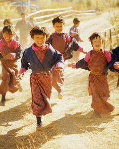 School Girls Running in Bhutan