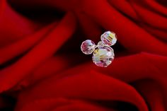 Hidden Mickey crystal in a red rose bridal bouquet - love it!