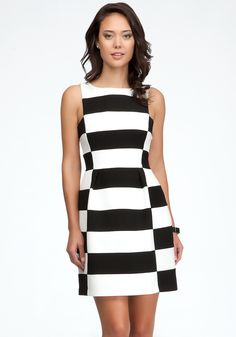 bebe Boatneck Striped Dome Dress