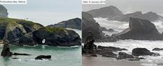 Porthcothan Bay, Cornwall, before and after the 6 January 2014 storm.