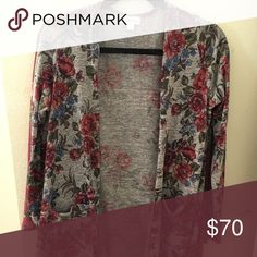LuLaRoe size small Sarah Excellent used condition, used once or twice. Light weight.  Heather grey background with red and blue roses LuLaRoe Sweaters Cardigans