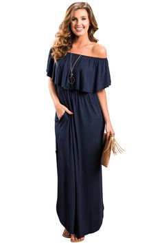 Wholesale Flounce Off Shoulder Maxi Jersey Dress on dearlover.net.This classic maxi dress is so easy to wear!You can wear it for just about any even!