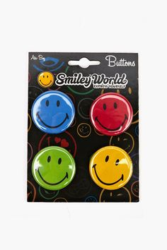 SmileyWorld Smiley Button Pack, happy Face, emoticon, emoji, Blue, red, Green, Yellow Smiley
