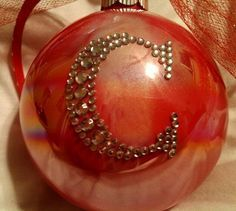 pictures of diy decorated glass christmas balls   Painted Christmas Ornament with Monogram Initial. $8.50, via Etsy.
