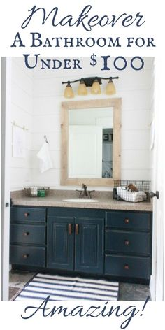 You CAN makeover a bathroom for under $100 dollars!  Its such a great transformation!