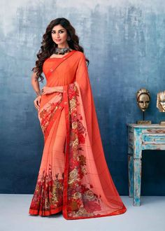 Adorable Red Color Georgette Flower Printed Saree Product Details : Fabric of this casual wear saree is georgette. Comes along with a red color raw silk unstitched blouse. Saree has flower design print. Ideal for casual wear or daily wear. Georgette Sarees, Silk Sarees, Indian Costumes, Celebrity Gowns, Designs For Dresses, Latest Sarees, Printed Sarees, Party Wear Sarees, Indian Beauty Saree
