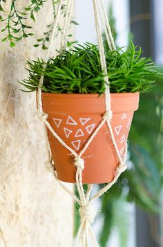 Brown cord macrame plant hanger with brown flower pot