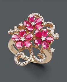 Ladies Flower Ring Color Plastic Stainless Steel Rose Cluster Jewelry Band