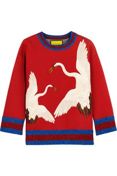 Gucci for NET-A-PORTER - Printed Bonded Cotton-jersey Sweatshirt - Red - xx large