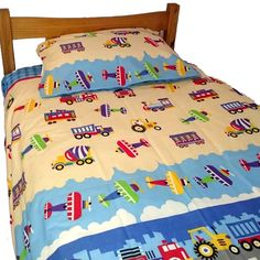 Children's 100% Cotton Transportation Duvet Cover - Available now on Becky & Lolo
