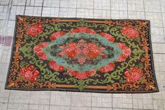 unique floral kilim made in moldovan, handmade rug with bright colors