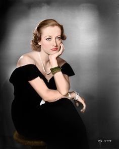 Joan Crawford in an off-the-shoulder black gown and pearls... #WomenInNoirFilms http://www.quaintrellism.net