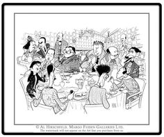 """AL HIRSCHFELD'S THE ALGONQUIN ROUND TABLE, depicting DOROTHY PARKER, ROBERT SHERWOOD, GEORGE S. KAUFMAN, EDNA FERBER, FRANKLIN P. ADAMS, MARC CONNELLY, HEYWOOD BROUN, ALEXANDER WOOLLCOTT, ROBERT BENCHLEY, LYNN FONTANNE, ALFRED LUNT, FRANK CROWNINSHIELD, and the host, FRANK CASE. Hand signed by Al Hirschfeld, Limited-Edition Lithograph, Edition Size: 110, 21"""" (h) x 27"""" (w)"""