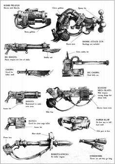 Warhammer 40K Database - Ork weapons. This made me laugh way harder than it should have.