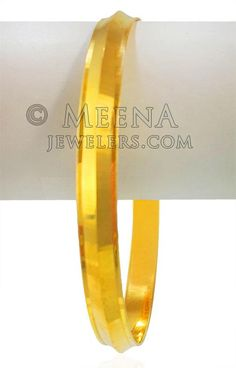 22 Karat Gold Mens Punjabi Kada - - Yellow Gold Men's Kada (bangle) is designed with fine linear pattern laser cuts.