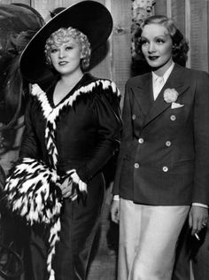 Mae West & Marlene Dietrich were actually good friends on the Paramount lot, Mae even joked Marlene offered to wash her hair. Mae wasn't the party girl, but each were individual & not rivals. (please follow minkshmink on pinterst)