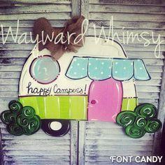 Camper Happy Campers Door hanger by TheWaywardWhimsy on Etsy
