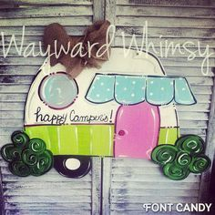 Hey, I found this really awesome Etsy listing at https://www.etsy.com/listing/237390136/camper-happy-campers-door-hanger