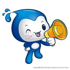물의 요정 캐릭터는 확성기를 들고있다. 자연 캐릭터 디자인 시리즈. (BCDS011552) Water sprite Mascot the hand is holding a loudspeaker. Nature Character Design Series. Copyrightⓒ2000-2014 Boians.com designed by Cho Joo Young.