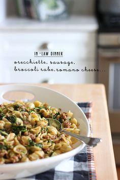 Great dish to make for company. Orecchiette with sausage and broccoli rabe.