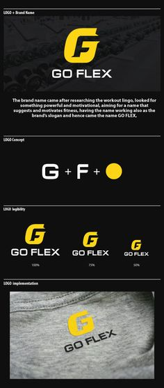 Go Flex Brand Identity and Logo - the yellow black and white really complement each other and it's so clever how they fit the F into the G