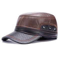 9310757d634 COMPRE AQUI  Fashionable Sewing Thread and Stud Embellished PU Military Hat  For Men Cheap Mens