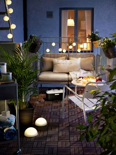 A 'lounging' zone on your patio can be used both for relaxing and socializing. On a small patio a small sofa or two armchairs is all you need to create the perfect place to sit and lounge.