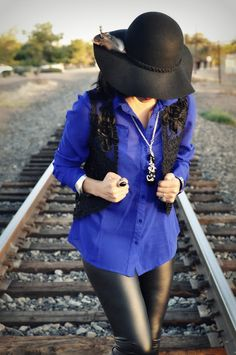 Crochet + Floppy Hat + Faux Leather + Boots, the perfect fall combination!