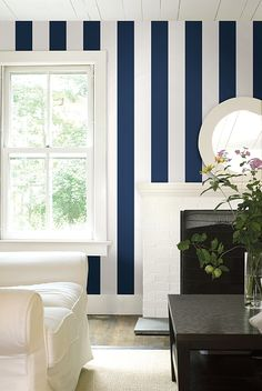 Paint Nay stripes on wall.....Nantucket Stripe Wallpaper A Smart dark navy blue and off white wide striped wallpaper.