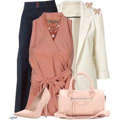 INNAMORATO Top (rose)/white blazer/denim