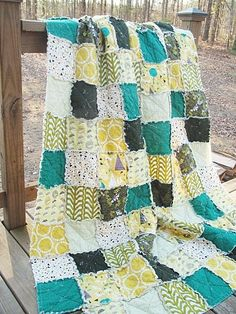 Twin Size Quilt, Rag, Outfoxed, foxes and hedgehogs, green, boy, ALL NATURAL, fresh modern handmade children. $249.00, via Etsy.