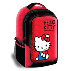 Hello Kitty Backpack Style Laptop Case- Red. The Hello Kitty KT4337R Backpack Style Laptop Case (Black) accommodates Laptops with up to 15.4 inch screen size. It features exterior and zippered accessory pocket on side and front.* Accommodates Laptops with up to 15.4 Inch Screen Size    * Durable Nylon Exterior    * Polyester Lined Interior    * Exterior, Zippered Accessory Pocket on Each Side and Front    * Carry Handle    * Size: 11.8(W) x 16.7(H) x 4.7(D)Hello Kitty Backpack Style…