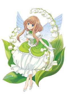 Lily of the Valley Anime Angel, Anime Fairy, Anime Chibi, Anime Art Girl, Manga Girl, Animes Wallpapers, Cute Wallpapers, Character Art, Character Design